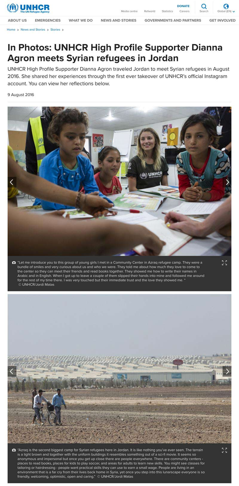 UNHCR High Profile Supporter Dianna Agron meets Syrian refugees in